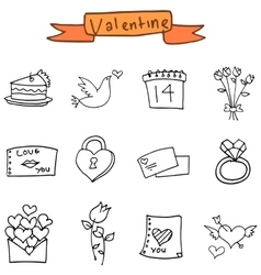 Hand draw element valentine icons vector