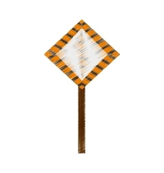Drawing sign road caution vector