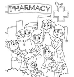 Pharmacist and family outside a drugstore vector
