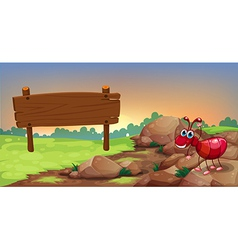 An ant at the rocky road with an empty signage vector image