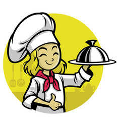 girl chef presenting the meal vector image