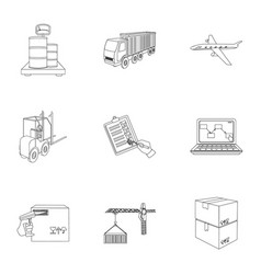 Forklift cargo plane goods documents and other vector