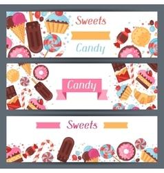 Horizontal banners with colorful candy sweets and vector