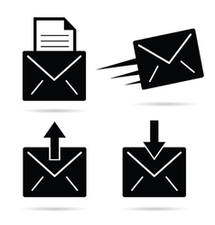 letter envelope black and white vector image