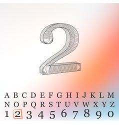 Low poly numbers font polygon number vector