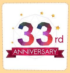 Colorful polygonal anniversary logo 2 033 vector
