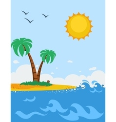 Sea landscape poster in cartoon style vector