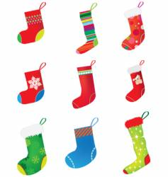 Christmas stocking set vector