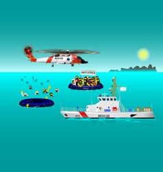 Helicopter rescue teams and ship at sea vector