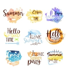 Summer beach holidays colorful label set vector