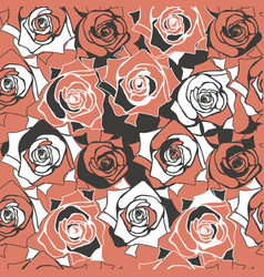 Abstract seamless patern with elegant roses vector