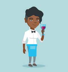 african-american waitress holding a glass of wine vector image vector image