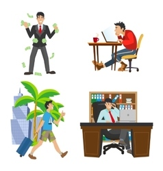 Businessman character the life of the unemployed vector