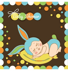 Card with the birth of a child in bunny costume vector