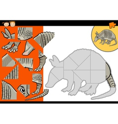 cartoon armadillo jigsaw puzzle game vector image vector image