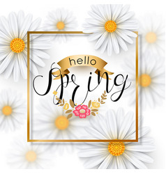 Chamomile flower spring background with gold frame vector