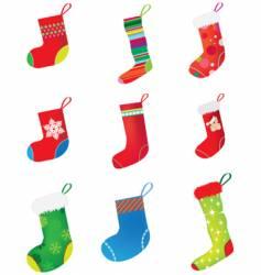 Christmas stocking set vector