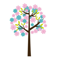 Color silhouette with floral tree vector