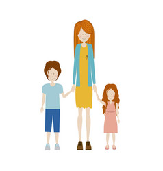 Color silhouette with kids and mom with dress and vector