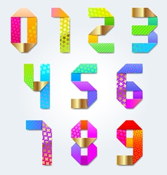 Colorful decorative paper numbers vector image