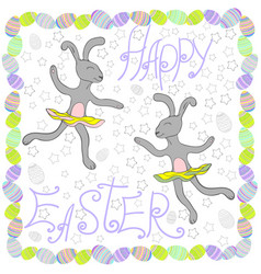 easter rabbits with easter eggs and banners vector image vector image