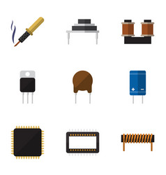 Flat icon technology set of coil copper vector