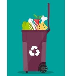Garbage bin container full of junk food vector