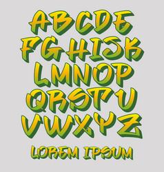 Graffiti font 3d - hand written - alphabet vector