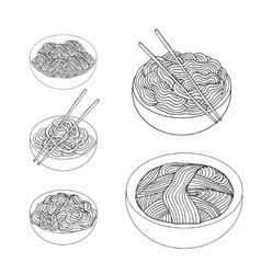 Hand drawn noodles set asian cuisine vector