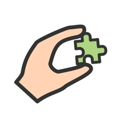 Holding puzzle piece vector