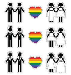 Lesbian brides and gay grooms icon 4 set vector