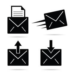 letter envelope black and white vector image