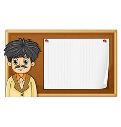 Male teacher standing in front of board vector image