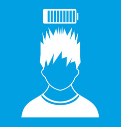 Man with low battery over head icon white vector