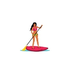 Paddleboarding sign sexy girl standing happy on vector