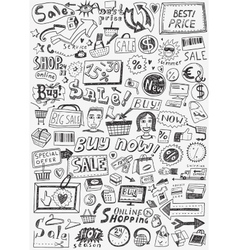 Sale doodles set vector image