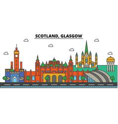 Scotland glasgow city skyline architecture vector