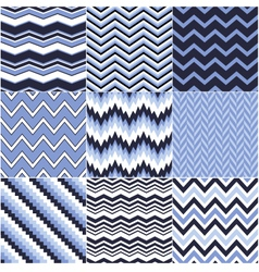 Seamless blue zig zag set vector