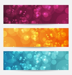 Set of abstract banners with bokeh effect vector image vector image