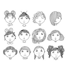 set of hand drawn girl faces cartoon girls vector image vector image