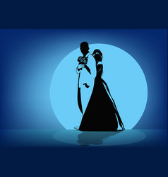 silhouettes of the bride hugging the groom in the vector image