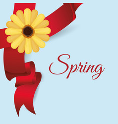 Spring card flower ribbo vector