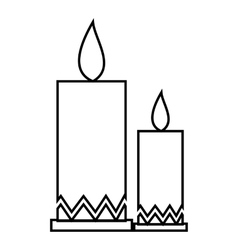 Two candle icon outline style vector image vector image