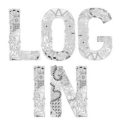 Word log in for coloring decorative vector