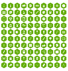 100 paint icons hexagon green vector