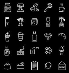 Coffee shop line icons on black background vector image