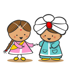Indians in national dress a boy and a girl in vector