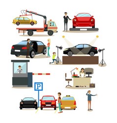 icons set of cars and people dealing with vector image