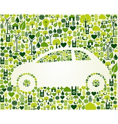 Green car with eco icons set vector
