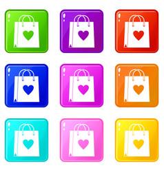 shopping bag icons 9 set vector image